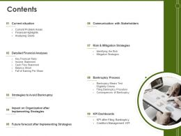 Contents Bankruptcy Process M277 Ppt Powerpoint Presentation Layouts Outfit