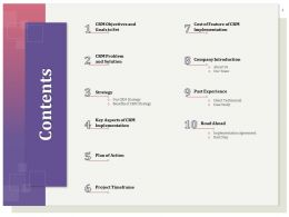 Contents Cost Of Feature Of CRM Implementation Ppt Gallery