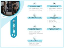 Contents On Business M1984 Ppt Powerpoint Presentation Professional Visuals