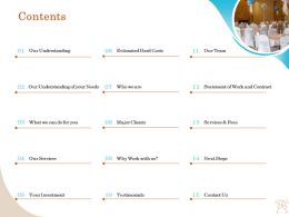 Contents Our Understanding Ppt Example File