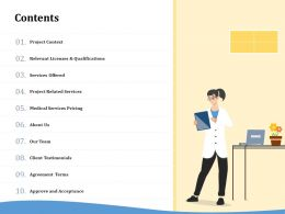 Contents Project Related Services Ppt Powerpoint Gallery Icons