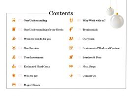 Contents Services And Fees Ppt Powerpoint Presentation Icon Infographics