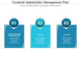 Contents Stakeholder Management Plan Ppt Powerpoint Presentation Infographics Layouts Cpb