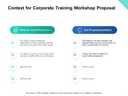 Context For Corporate Training Workshop Proposal Ppt Powerpoint Presentation Show