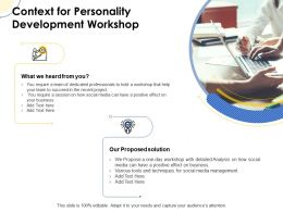 Context For Personality Development Workshop Ppt Powerpoint Icons Portfolio