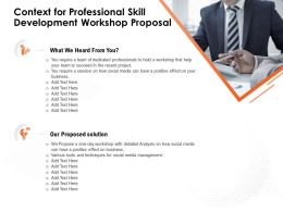 Context For Professional Skill Development Workshop Proposal Team Succeed Ppt Presentation Ideas