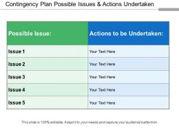 Contingency Plan Possible Issues And Actions Undertaken