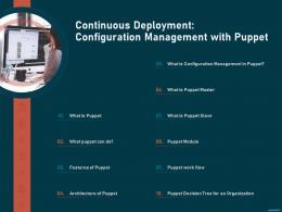 Continuous Deployment Configuration Management Puppet Puppet Solution Configuration Management Ppt Diagrams