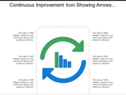 Continuous Improvement Icon Showing Arrows With Bar Graph