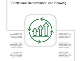 Continuous Improvement Icon Showing Circular Arrow With Bar Graph