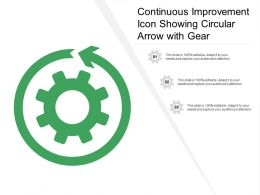 Continuous Improvement Icon Showing Circular Arrow With Gear