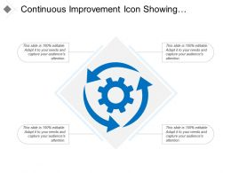 Continuous Improvement Icon Showing Circular Arrow With Gear Ppt Slide