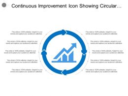 Continuous Improvement Icon Showing Circular Arrows With Graph