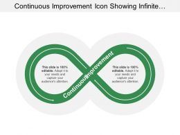 Continuous Improvement Icon Showing Infinite Symbol With Arrow