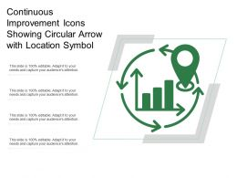 Continuous Improvement Icons Showing Circular Arrow With Location Symbol