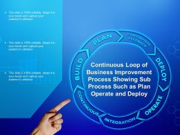 Continuous Loop Of Business Improvement Process Showing Sub Process Such As Plan Operate And Deploy