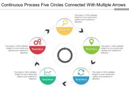 Continuous Process Five Circles Connected With Multiple Arrows