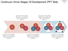 Continuum Arrow Stages Of Development Ppt Slide