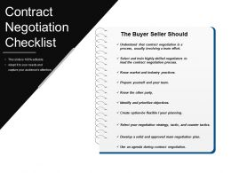 Contract Negotiation Checklist Powerpoint Show