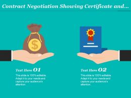 Contract Negotiation Showing Certificate And Money In Return