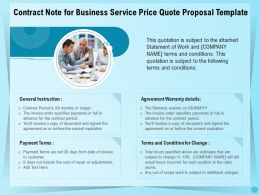 Contract Note For Business Service Price Quote Proposal Template Ppt File Aids