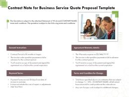 Contract Note For Business Service Quote Proposal Template Ppt Powerpoint Format