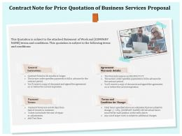 Contract Note For Price Quotation Of Business Services Proposal Ppt Icon