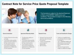 Contract Note For Service Price Quote Proposal Template Ppt Demonstration