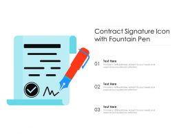 Contract Signature Icon With Fountain Pen