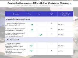Contractor Management Checklist For Workplace Managers