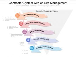 Contractor System With On Site Management