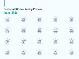 Contractual Content Writing Proposal Icons Slide Ppt Powerpoint Presentation Icon Rules