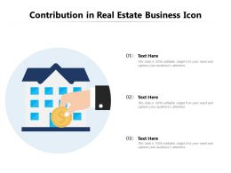 Contribution In Real Estate Business Icon