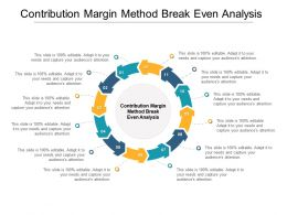 Contribution Margin Method Break Even Analysis Ppt Powerpoint Presentation Styles Influencers Cpb