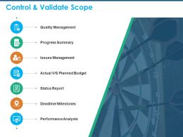 Control And Validate Scope Deadline Milestones Ppt Powerpoint Presentation Images