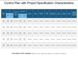 Control Plan With Project Specification Characteristics
