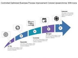 Controlled Optimized Business Process Improvement Colored Upward Arrow With Icons