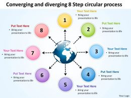 converging and diverging 8 step circular process Arrows Network Software PowerPoint Slides