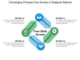 Converging Process Four Arrows In Diagonal Manner