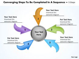 converging steps to be completed a sequence 5 Cycle Process Network PowerPoint templates