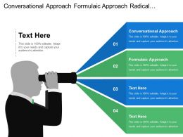 Conversational Approach Formulaic Approach Radical Learner Led Approach Directive Style