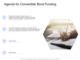 Convertible Bond Funding Agenda For Convertible Bond Funding Ppt Summary Deck