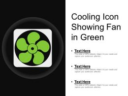 Cooling Icon Showing Fan In Green
