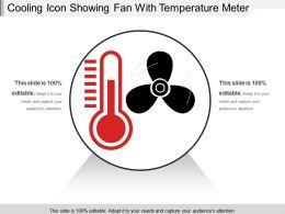 Cooling Icon Showing Fan With Temperature Meter
