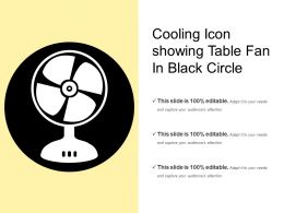 Cooling Icon Showing Table Fan In Black Circle