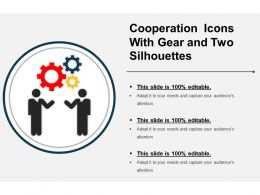 Cooperation Icons With Gear And Two Silhouettes Ppt Examples