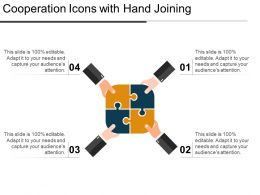 Cooperation Icons With Hand Joining Ppt Ideas