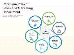 Core Functions Of Sales And Marketing Department