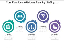 Core Functions With Icons Planning Staffing Organizing Directing Controlling