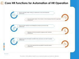 Core Hr Functions For Automation Of Hr Operation Distribution Ppt Powerpoint Presentation Layout